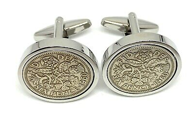 1959 60th Luxury Cufflinks - 1953 to 1967  Lucky Sixpence Cufflinks - Boxed 60th