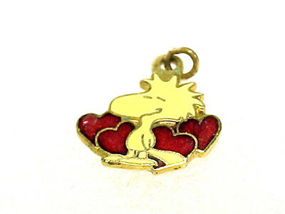 Vintage Peanuts Enameled Woodstock And 4 Hearts Estate Charm By Aviva