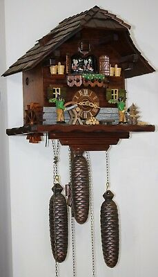 Vintage musical automaton cuckoo clock by Schneider.Black forest.Needs work.