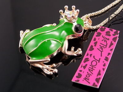 Betsey Johnson Crown frog prince Pendant Necklace Sweater chain charm EE22