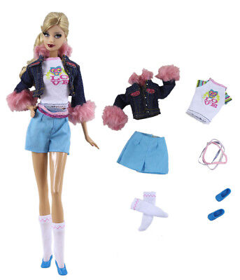 6in1 Set Jacket+vest+pants+socks+belt+shoes FOR 11.5in.Doll Clothes Girl Gift