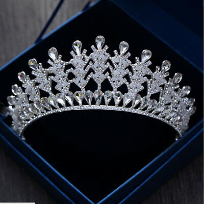 6.5cm High Clear Crystal Opal Beads Wedding Party Pageant Prom Tiara Crown