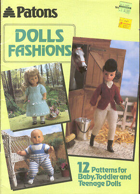 Patons Doll Fashions Pattern Knitting Booklet 12 Designs Barbie Baby Toddler