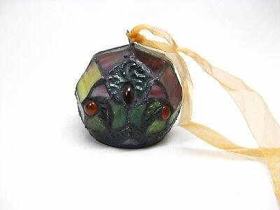 Handmade Round Leaded Stained Glass Christmas Ornament on Gold Ribbon Battery
