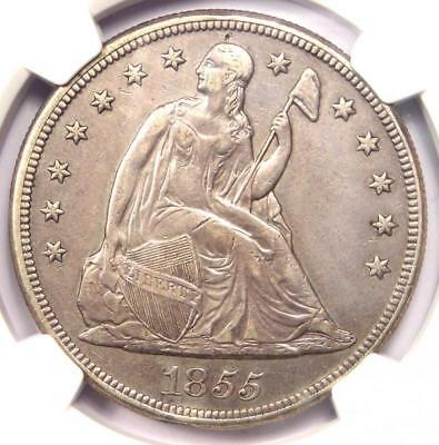 1855 Seated Liberty Silver Dollar $1 Coin - NGC AU Details - Rare Key Date!