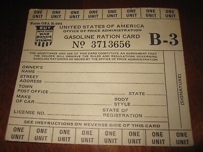 Original WW II Gasoline Ration Card Gulf Logo Maple Spring Service 1942