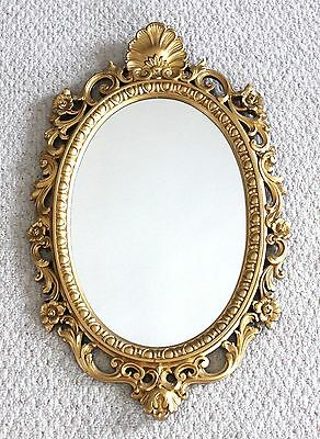Ornate Vtg FRENCH Shabby CHIC Oval HANGING Wall MIRROR Gold Gilt Plastic