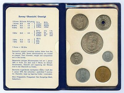 Denmark Danish 1972 Official Coin Mint Set KMS UNC Nice Condition !!!