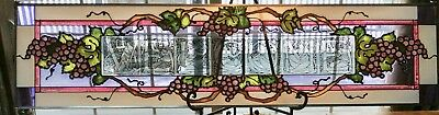 "Vintage Stained Glass Window Welcome hanging 42"" x 10"""