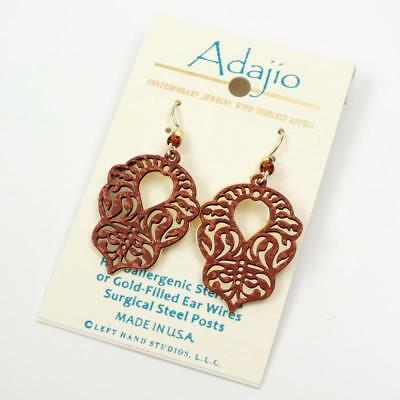 Adajio Earrings Hand Painted Rust Scroll Design with Shiny Gold Plated Back