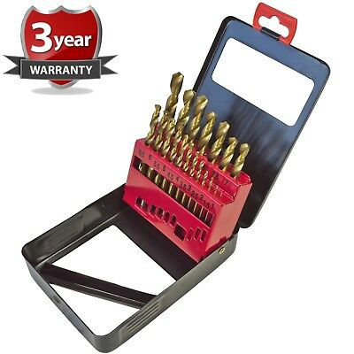 NEW 19pc Drill Bit Set Titanium Nitride Coated Sizes 1-10mm Metal Storage Case