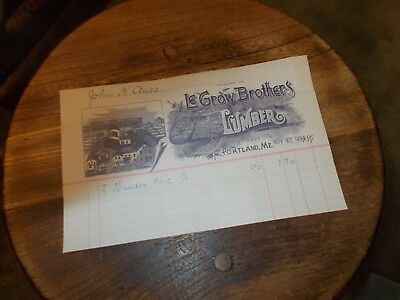 Le Grow Brothers Dealers In Lumber 24 Preble St. Portland, Maine 1894