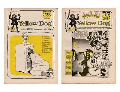 Yellow Dog #6 and #11/12 Tabloid Undergrounds / 5th Anniversary 1968-73 / VF-