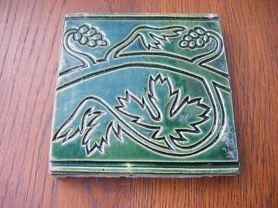 Reclaimed Victorian Antique Green Craven Dunnill & Co. Floor Tile 10.5cm sq