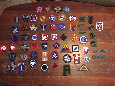 Large lot of US Army Military Patches WW2 to Vietnam 62 pieces some rare