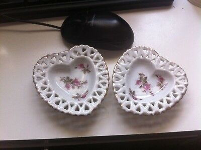 2 LEFTON CHINA HAND PAINTED HEART TRINKET or SOAP OR NUT DISHES Valentine ROSES