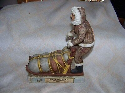 Potter's Eskimo Dog Sled Canadian Whisky Decanter Porcelain Unique Nice Conditio