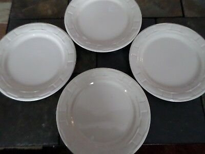 "4 Longaberger Pottery 10"" Plates Woven Tradition Ivory FOUR PLATES Perfect Shape"