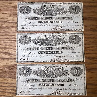 Lot  (3) Consecutive 1863 The State of North Carolina, Raleigh $1 One Dollar