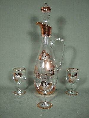 Vintage Etched Floral Bohemian Amber Wine Decanter  With Glasses