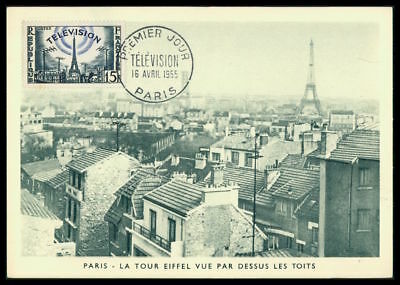 FRANCE MK 1955 FERNSEHEN TELEVISION EIFFEL TURM TOWER MAXIMUM CARD MC CM dq63