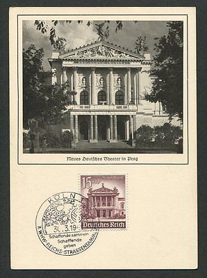 3. REICH MK 1941 WHW PRAG THEATER THEATRE MAXIMUMKARTE MAXIMUM CARD MC CM h0283
