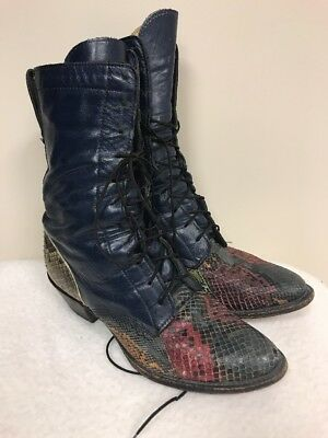 Dan Post Python Snakeskin Cowboy Boots US WOMENS LACER Vintage USA MADE !!