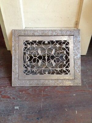 Antique Ornate Victorian Cast Iron Register Heat Vent Floor Grate Surround Fancy
