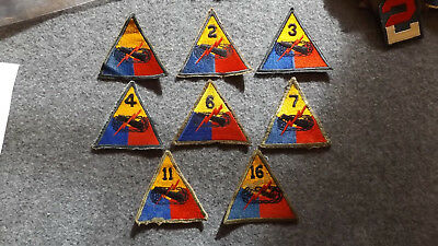 WWII Armored patches lot of eight different ones