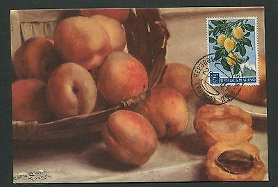 SAN MARINO MK 1958 FLORA PFLAUMEN PLUM MAXIMUMKARTE MAXIMUM CARD MC CM d2493