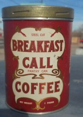 Vintage Steel Cut Breakfast Call Coffee Tin 1LB Pantry Can Denver Colorado Candy