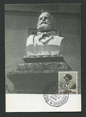 SAN MARINO MK 1958 GARIBALDI BÜSTE MAXIMUMKARTE CARTE MAXIMUM CARD MC CM d1967
