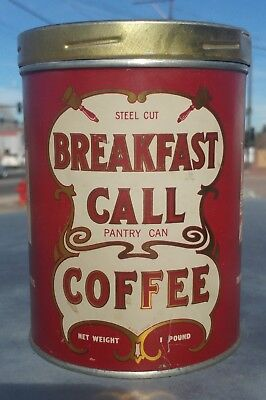 Vintage Steel Cut Breakfast Call Coffee Tin 1LB Pantry Can Denver Colorado Sage