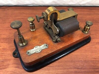Antique J.H. Bunnell & Co. Vintage Brass Cast Iron Wood Telegraph Key Steampunk