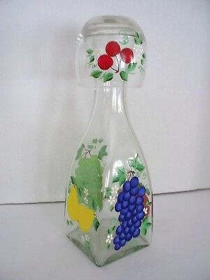 Hand Painted FRUIT Water Carafe Set w/Glass Grapes Apple Pear Bedside Water