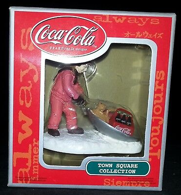 """Coca-Cola Coke Ornament Town Square Collection """"Girl with Cat on Sled"""""""