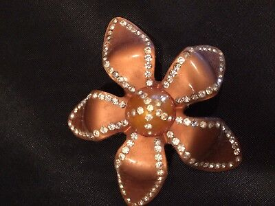 Vintage Pearly Plastic Lucite Brown Rhinestone Flower Pin..excellent Condition