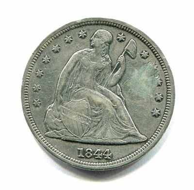 1844 LIBERTY SEATED SILVER DOLLAR low mintage RARE