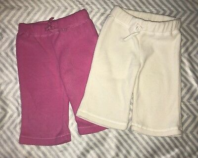 Lot Of 2 Pairs Of Baby Girl Fleece Pants White & Pink 6m
