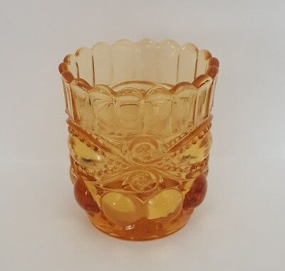 Vintage Eyewinker Toothpick Holder Amber 2-3/8""