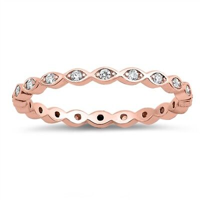 .925 Sterling Silver Rose Gold Eternity Stackable Clear CZ Ring Sizes 4-10
