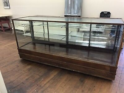 Antique Country Store Glass And Wood Display Counter Case