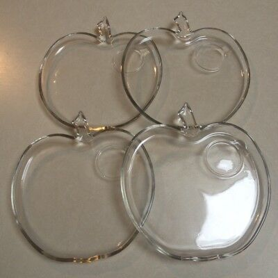 Vintage Clear Glass Apple Shaped Dessert/Fruit Plates Lot of 4