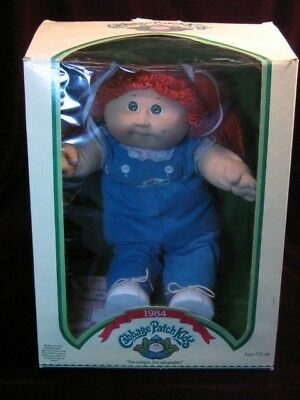 Vintage Cabbage Patch Kids Doll 1984 In the box Red Hair Green Eyes,