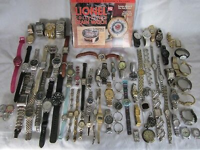 Huge lot of approx. 67 watches. Cased running Lionel train watch. Mens & womens.