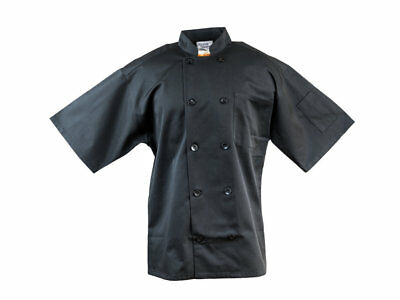 10 Button Mesh Back Short Sleeve Chef Coat Jacket S M 3XL Black New All Star