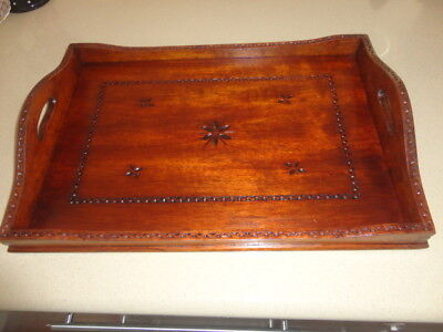 Vintage Hand Crafted Engraved Wooden Serving Tray (signed B BROADBERE)