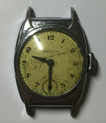 Vintage Westclox Mens Watch Art Deco Case Parts/Repair USA Wrist Antique Dollar