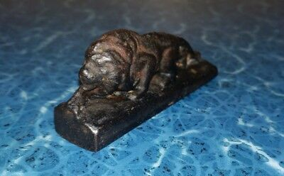 "Vintage 3""  BRONZE overlay CAST IRON Stalking Male LION STATUE Paperweight"