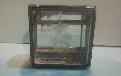 Vintage Lead Stained Glass Trinket Jewelry Box W/etched Carousel Horse Design